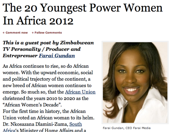 Forbes - The 20 Youngest Power Women in Africa 2012