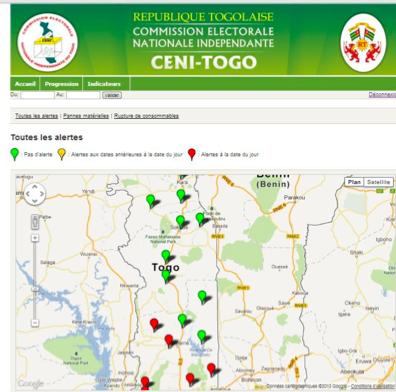 Carte des alertes - SUSIE Togo